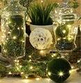Alambre de cobre Led cadena de luces de Navidad 2 M 20led luz de la secuencia de Vacaciones luz de la batería led de cadena Impermeable cortina de Luces de La Boda
