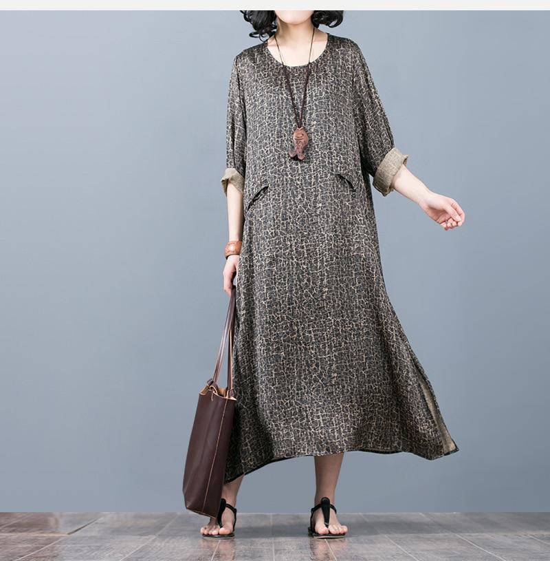 2018 O Neck Loose Fashion Cool Beauty Elegant Women Long Sleeve Print Ankle Length Dress Summer Women Casual Vintage Dress
