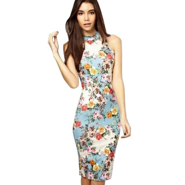 7d0af34fa2e Womens Floral Bodycon Midi Dress Mock Neck Sleeveless Dress Ladies Slim Fit  Package Hip Summer Dress