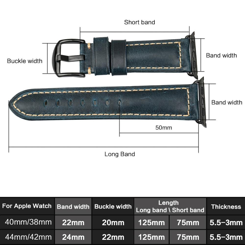a2bd561048d Melhor MAIKES Relógio Faixa de Relógio Cinta Para Apple iWatch 38 42mm mm  mm 40 44mm Série 4 3 2 1 azul Pulseira de Couro de Cera de Petróleo Vaca Do  ...