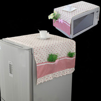 1 Set Fasion Refrigerator Dust Cover+Microwave Oven Cloth Cover Rural Cloth Art Dust cover Multicolor optional Dust cloth cover