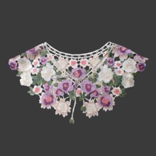 High quality women beautiful lace collar colored Flower DIY embrodiery Lace Collar Sewing Craft Neckline Trimming Decoration