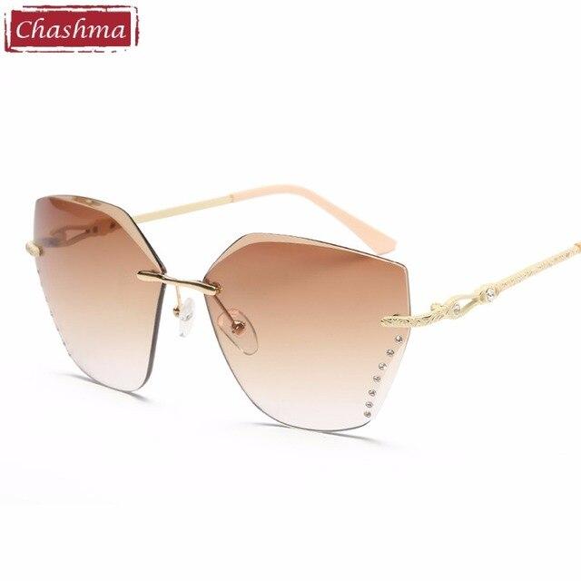 Trimed Chashma 2018 Mulheres Óculos De Sol Óculos Sem Aro De Diamantes  Óculos De Sol UV 3b0929a7b6