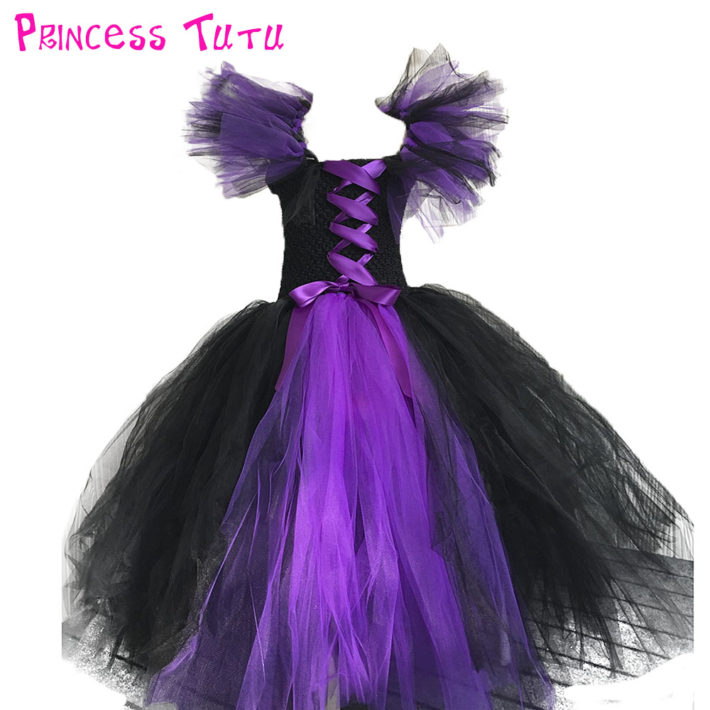 Hot Sale Evil Queen Girl Cosplay Tutu Dress Halloween Scary Costume For Kids Princess Girl Evening Party Tutu Dresses Size 1-10Y girls dresses trolls poppy cosplay costume dress for girl poppy dress streetwear halloween clothes kids fancy dresses trolls wig