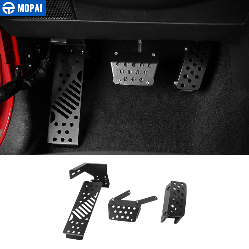 MOPAI Metal Car Brake Pedal Pads Foot Rest Pedals Covers for Jeep Wrangler JK 2007 Up
