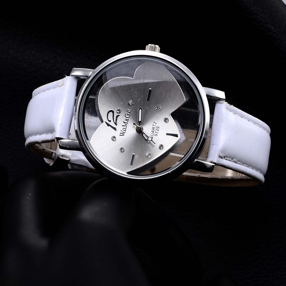 Luxury Crystal Heart Shape Wrist Watch Women Watches Leather Ladies Watch Women's Watches Clock relogio feminino reloj mujer relogio feminino dourado reloj mujer