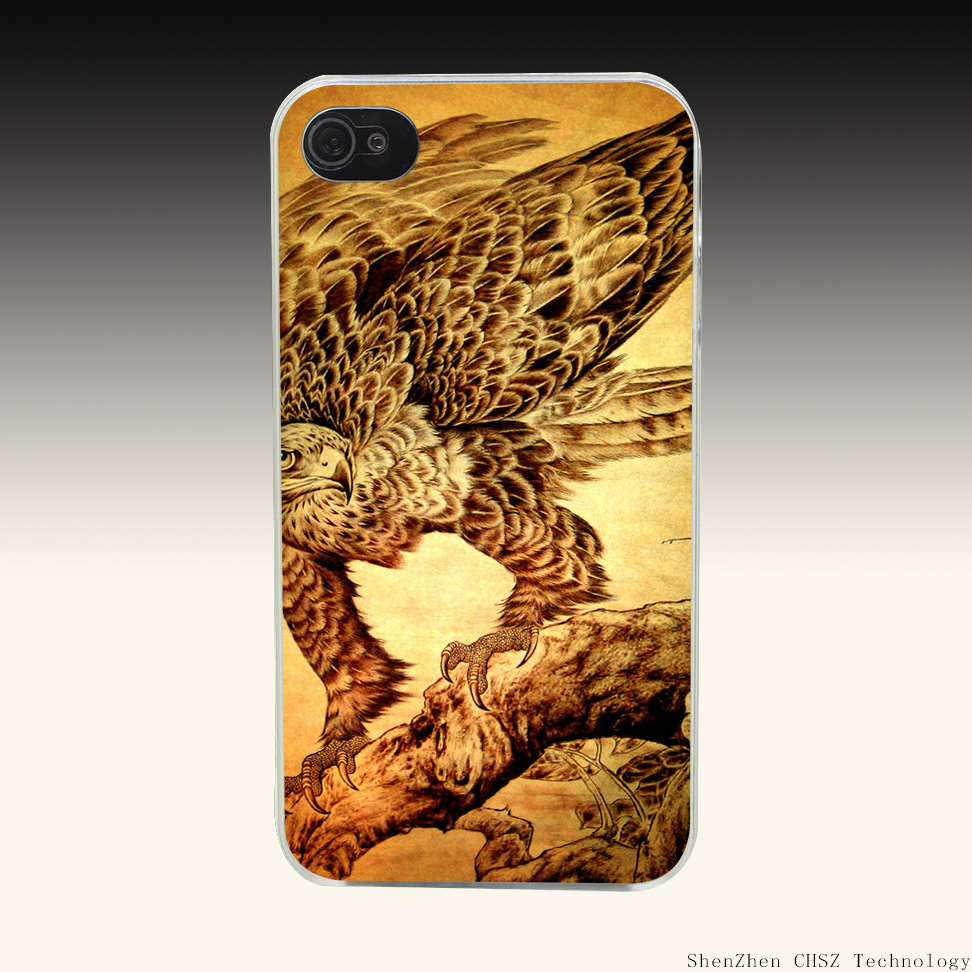 808R Wood Eagle Hard Clear Case Transparent Cover for iPhone 4 4s 5 5s SE 6 6s 7 Plus