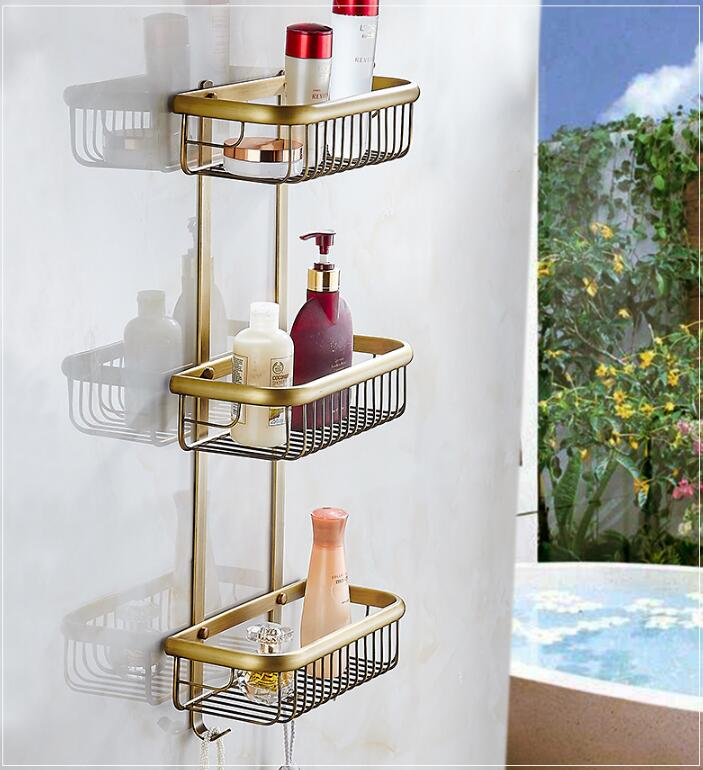 Wall Mounted Copper Bathroom Soap Dish Antique Triple Tier Bath Shower Shelf Bath Shampoo Holder Basket Holder Square shelf 30cm цена