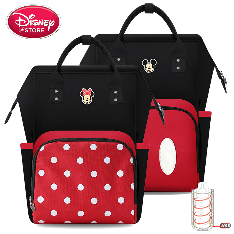 Disney Diaper Bags Mickey Minnie Mouse For Baby Care Mummy Baby Bags USB Bottle Insulation Feeding Nappy Handbag Mon Backpack