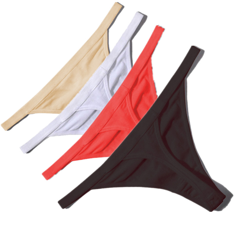 Hot Sale Sexy Women Cotton G String Thongs Low Waist Sexy Panties Ladies' Seamless Underwear Black Red White Skin Erotic Panty(China)