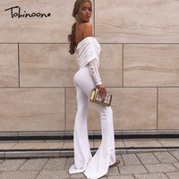Tobinoone Autumn Winter Sexy Jumpsuit Overalls Women Long Sleeve Rompers Club Party Vacation Off The Shoulder Casual Bodysuit