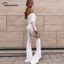 Tobinoone Autumn Winter Sexy Jumpsuit Overalls Women Long Sleeve Rompers Club Party Vacation Off The Shoulder
