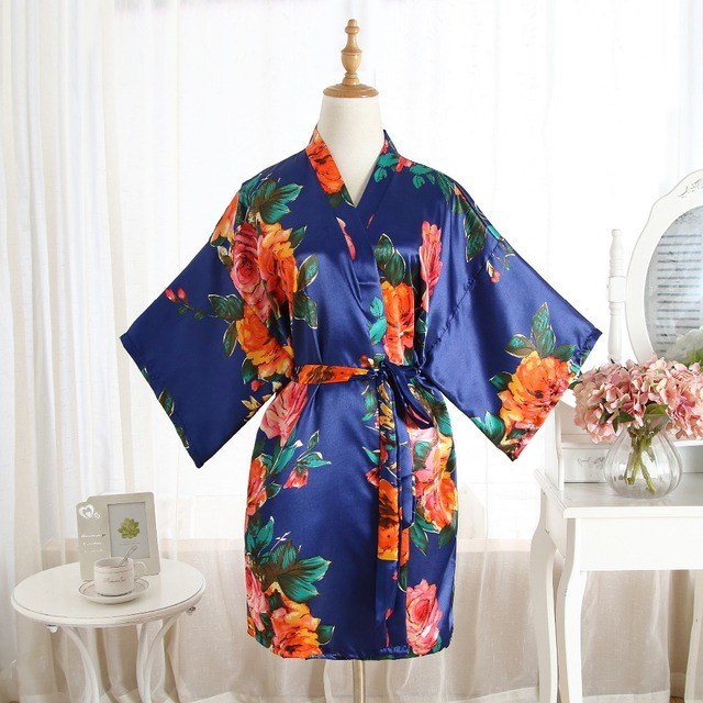 Hot Sale Chinese Women s Silk Sleepwear Robe Summer Lounge Home Dress  Printed Flower Peaco Yukata Nightgown Plus Size J07 faa7555f4