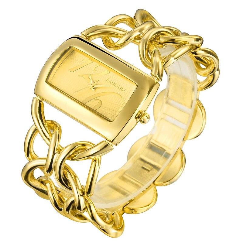 BAOSAILI Luxury Brand Imitation Gold Silver Color Circles Strap Women Bracelet Watches Ladies Quartz Analog Wrist Watch Clock PJ
