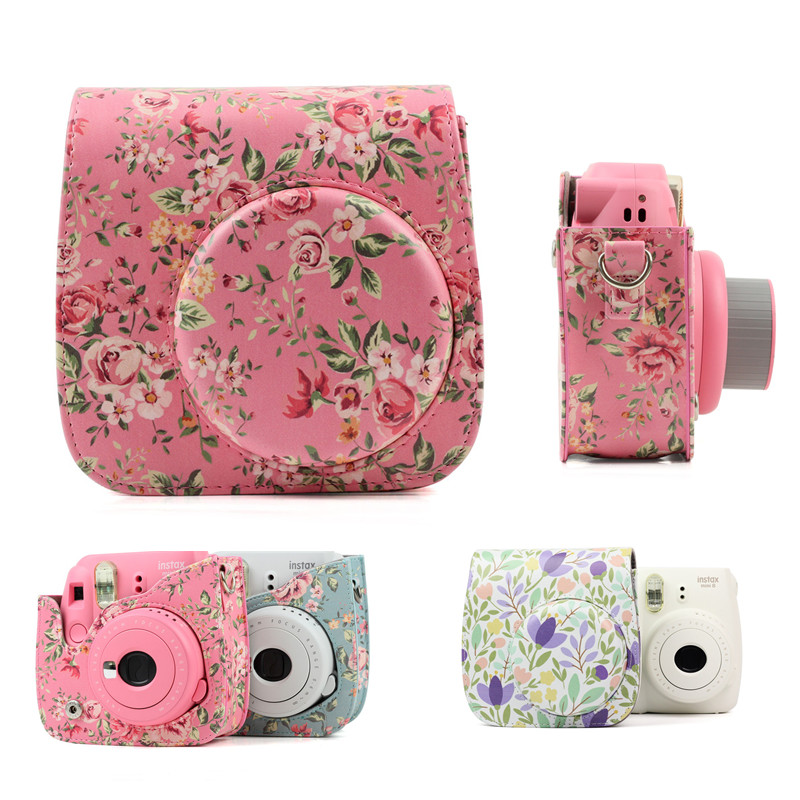 Para Fujifilm Instax Mini 8 8 + 9 accesorios para cámara flores cuero PU cámara instantánea hombro bolsa Protector funda