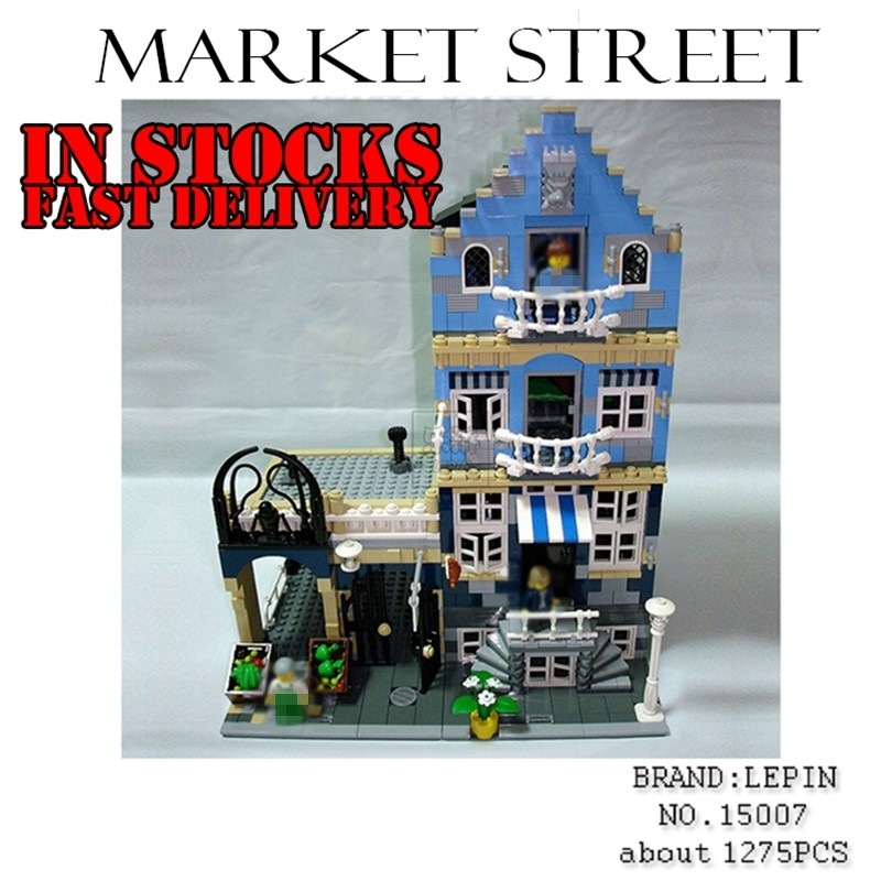 Lepin 15007 Factory City Street European Market Model Building Block Bricks toys for children gifts brinquedos compitable 10190 new lepin 16008 cinderella princess castle city model building block kid educational toys for children gift compatible 71040