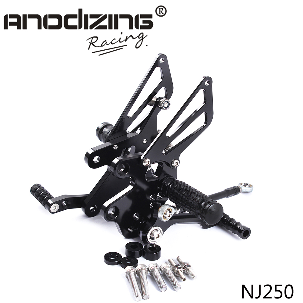Full CNC Aluminum Motorcycle Adjustable Rearsets Rear Sets Foot Pegs For KAWASAKI NINJA250R NINJA300 NINJA250 2008-2012