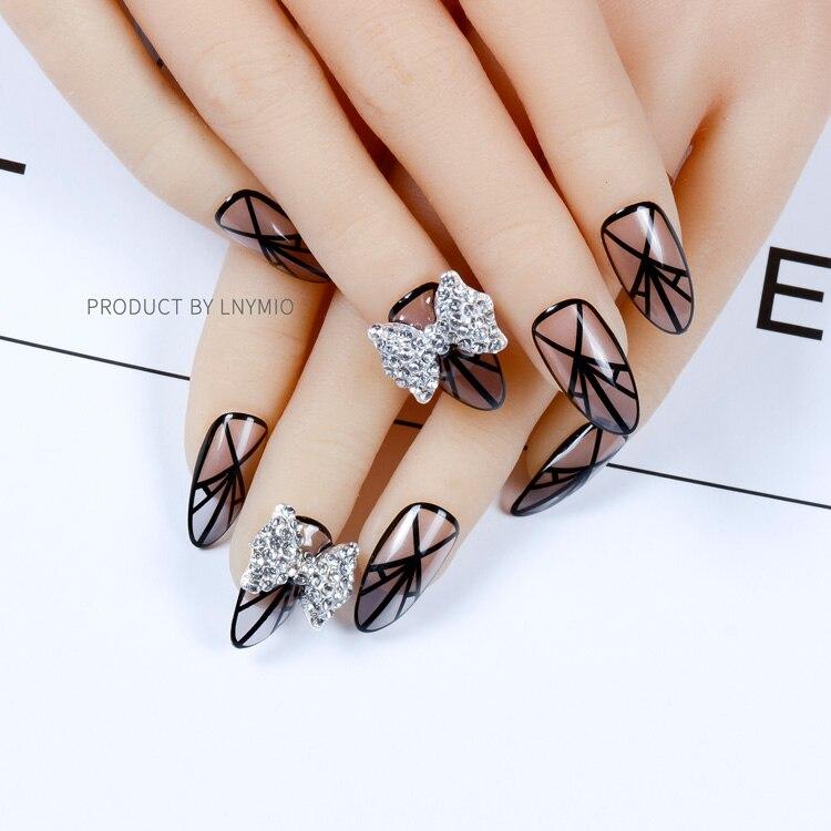 Large bowknot fake nails blingbling black lace nail tips 24 PCS-in ...