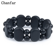 100 Quality Natural Black Bian Stone Bracelet Carve Black Bianshi Bracelet Jewelry For Women and Men