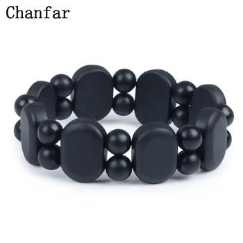100 Quality Natural Black Bian Stone Bracelet Carve Black Bianshi Bracelet Jewelry For Women and Men