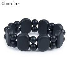 100 Quality Natural Black Bian Stone font b Bracelet b font Carve Black Bianshi font b