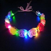Женский, для девушек, для невесты, светодиодный, мигающий, повязка на голову, Романтический, искусственный венок, повязка на голову, гирлянда, праздничное, свадебное украшение, вечерние принадлежности