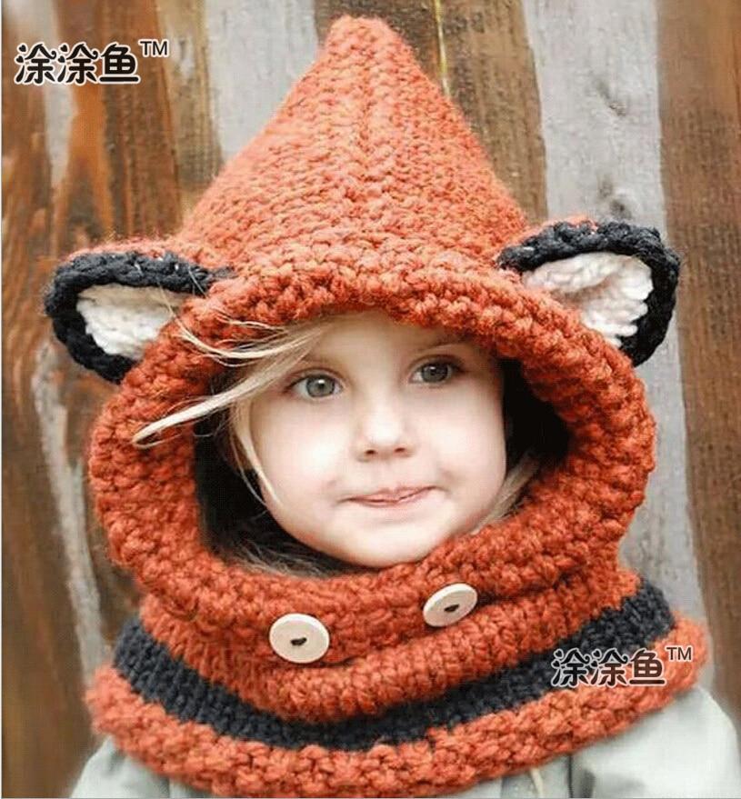 2015 Autumn Winter Fox Animal Baby Hats Caps Kids Girls Boys Warm Woolen Knitted Coif Hood Scarf Caps Hats Drop shipping