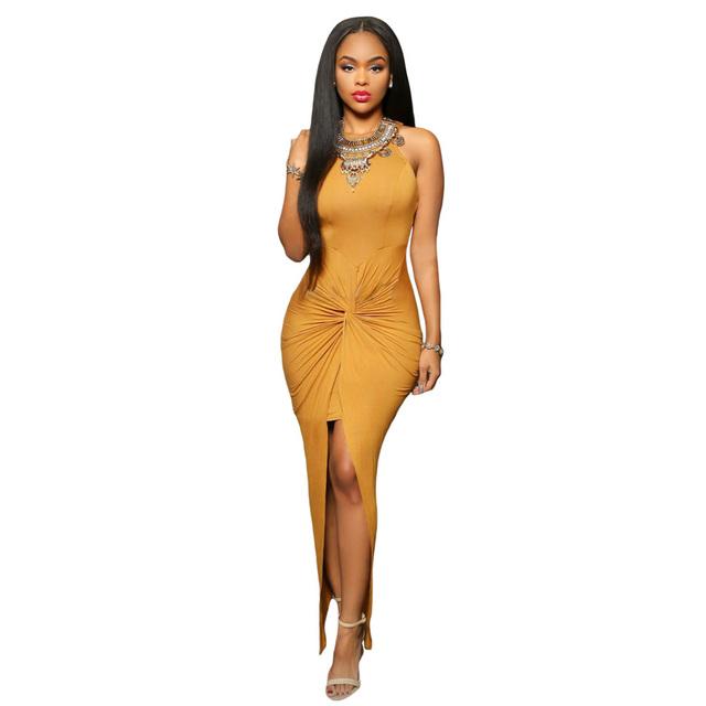 Sexy Bodycon Long Sleeveless Tie Front Split Party/Club Dress