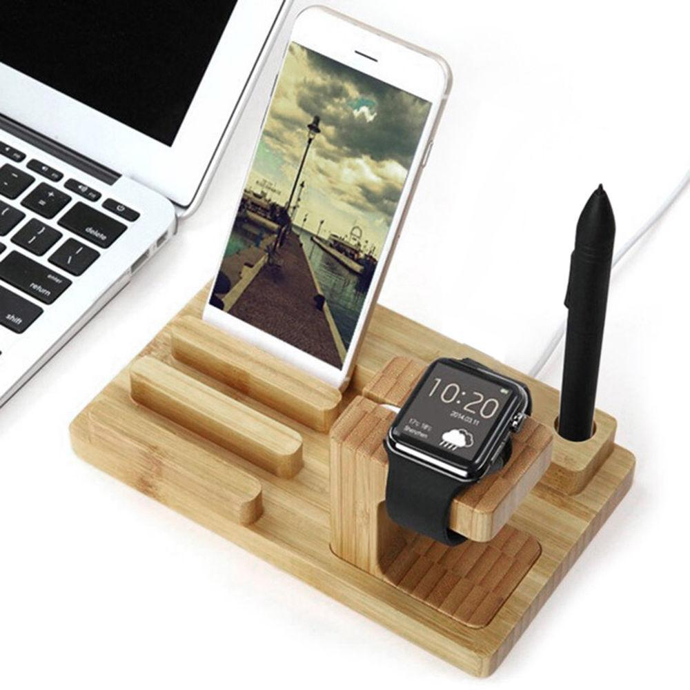 Bamboo Charging Station Stand Dock Bucket Wood Phone