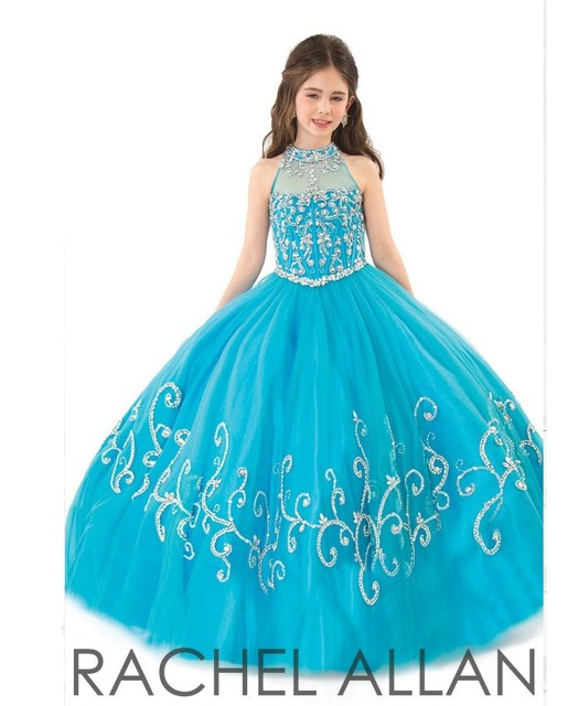Little Girls Pageant Dresses 2017 Girls Formal Dresses High Neck
