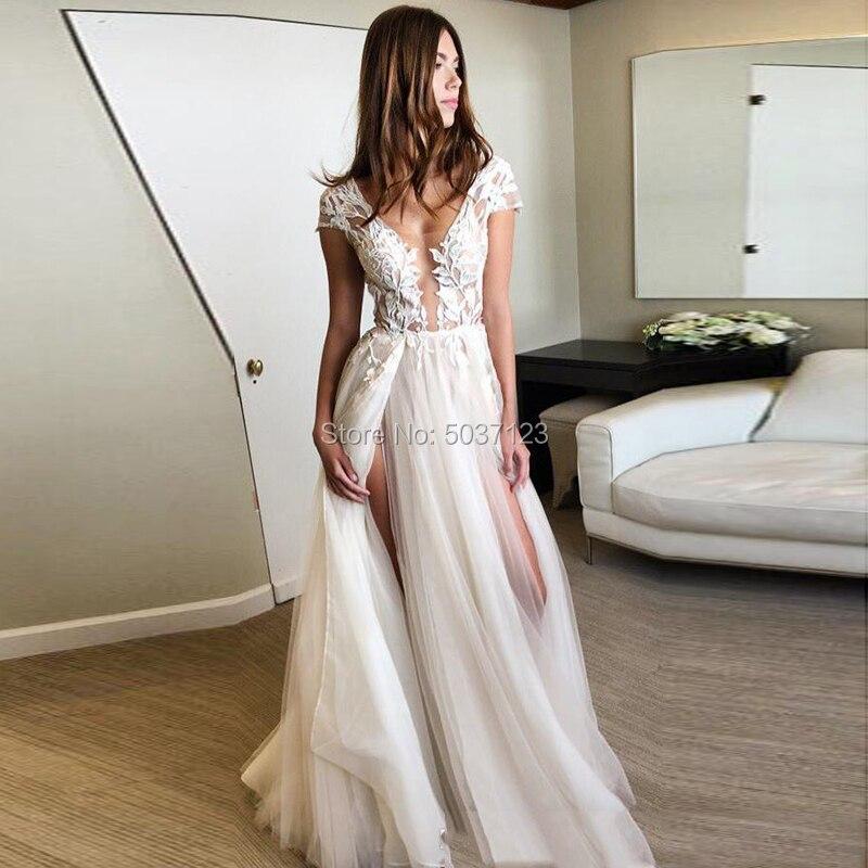 Tulle Wedding Dresses Vestido De Noiva Short Sleeves Sexy V Neck Deep V Neck Open Back A Line High Slit Bridal Wedding Gown