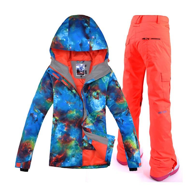 Wintersport 2018 combinaison de Ski femmes combinaisons de Ski vestes de Snowboard pantalon de ski de neige veste Ski femme vêtements imperméables chauds