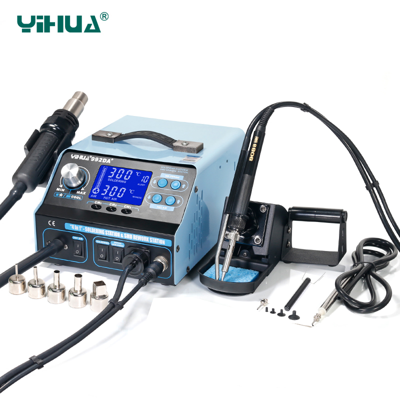 цена на YIHUA 992DA+ BGA Soldering Station Repair Board Rework Station Soldering With Hot Air gun Soldering Iron Smoke Vacuum 110V/220V
