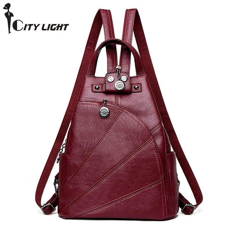 Vintage Backpack Women Bags New Fashion Travel Bag PU Leather School backpacks Casual Large Capacity Shoulder Bags Multifunction
