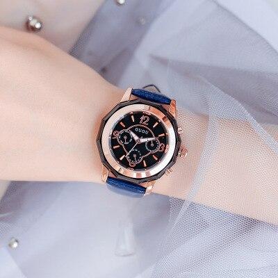 GUOU Women Brand Top Luxury Leather Watches Ladies Fashion Rose Gold Dress Quartz Wrist Watch Clock Female Relogio feminino guou luxury brand women quartz watch relogio feminino gold bracelet clock ladies fashion casual stainless steel wrist watches