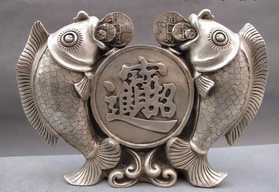 SCY S0267 China White Copper Silver Lucky Feng Shui Coin Money wealth Two carp Fish Statue D0318
