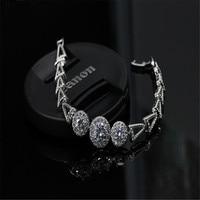 2 Colors Simple High Quality Geometric Cubic Zircon Bracelet Fit Woman Couple Bracelet New Year Gifts