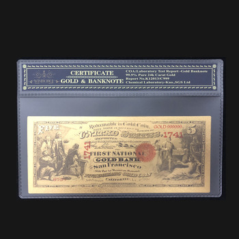 Лучшая цена для цветных 1870 американских банкнот, 5 долларов, золотые банкноты в 24 к 99.9% золото с пластиковой рамкой для подарка