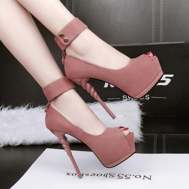 5442e2b3b Sapatos da moda das Mulheres Super Sapatos de Salto Alto com Plataforma  Sexy Saltos altos Rebanho