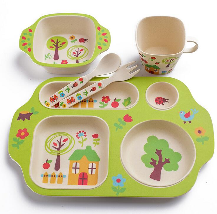 Superbe 5pc/set Bamboo Fiber Children/kids/baby Cutlery Sets 100% Green Dinner  Plate Bowl, Water Cup, Fork Healthy Dinnerware Sets In Dinnerware Sets From  Home ...