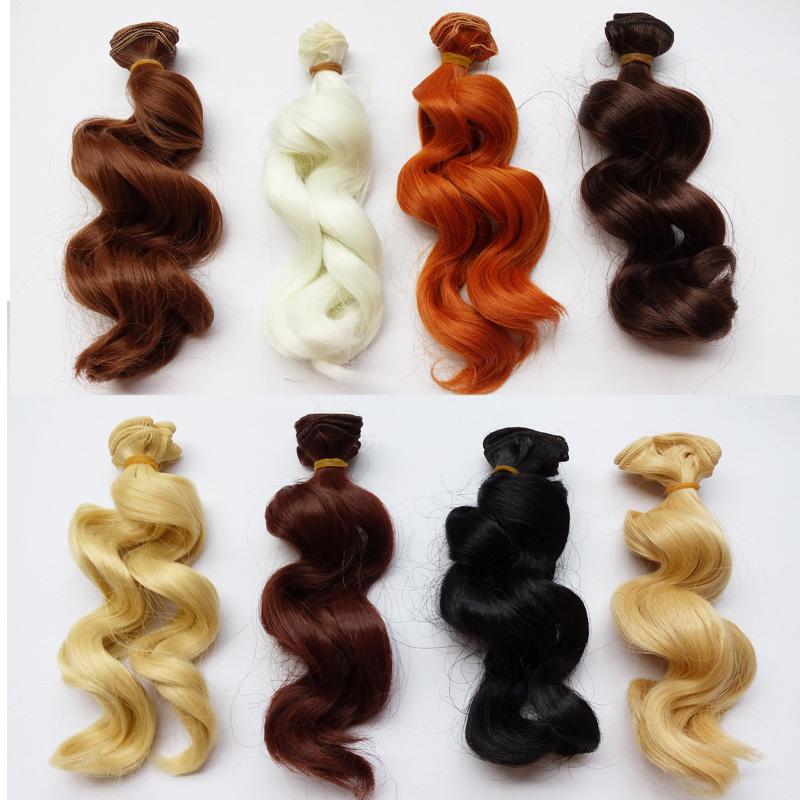 20 PCS / LOT Nouvelle Poupée Accessoires DIY Poupée Synthétique Cheveux Bouclés BJD Perruque Cheveux 15 CM