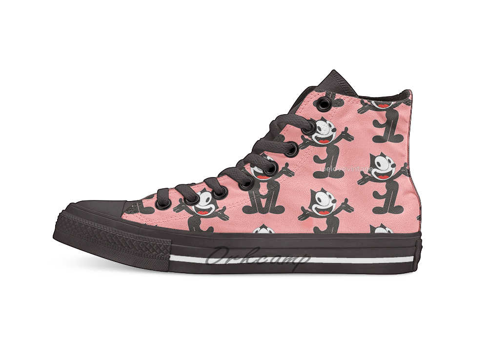 Felix the Cat High Top Canvas Shoes Flat Casual Custom Unisex Sneaker Drop Shipping