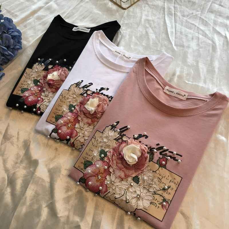 9ccbff53c59d Весна-лето 2019, футболка с короткими рукавами с цветочным принтом и  жемчужинами, ...