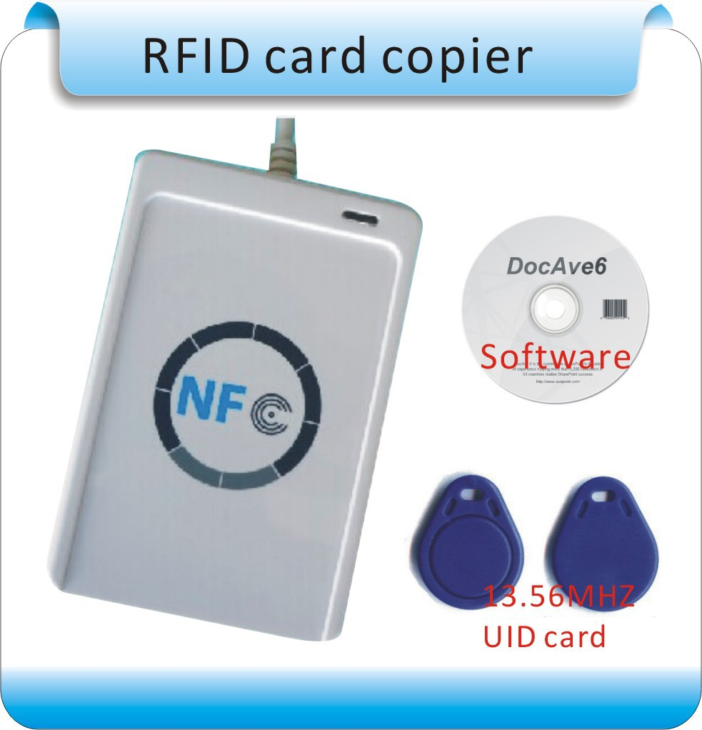 Free shipping Access Control ACR122U 13.56MHZ NFC Tags RFID copier/ IC card Reader & Writer + 1 SDK CD + 50 Pcs UID(IC) cards цены