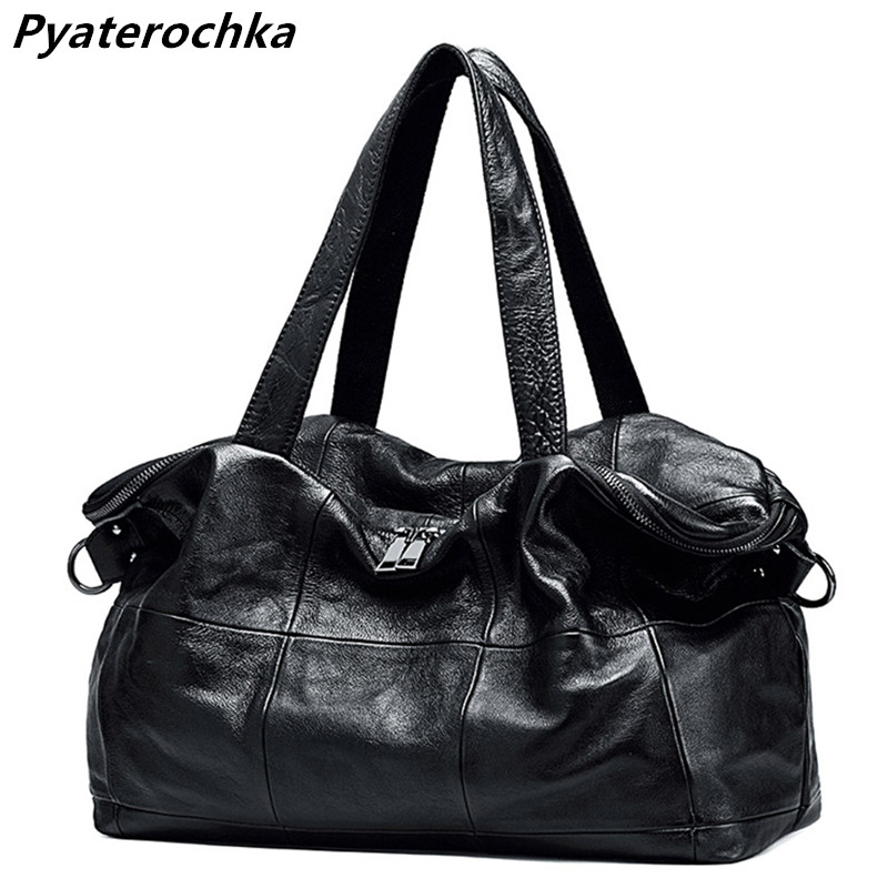 Pyaterochka Brand Women Big Bag Genuine Leather Handbags Large Capacity Ladies Shoulder Bags Fashion Plaid Luxury