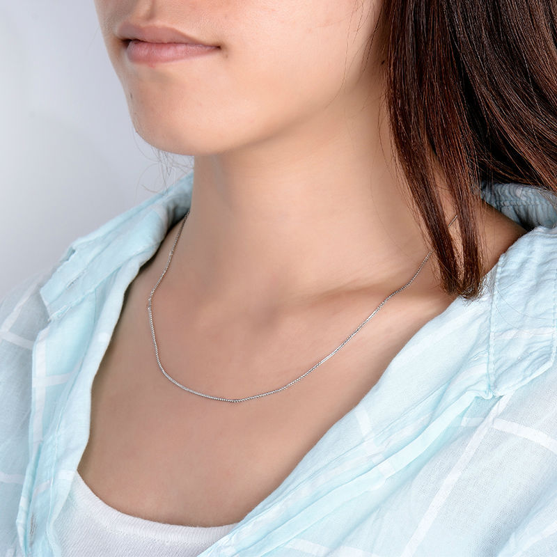 ELEGANT WAVES CHAIN NECKLACE IN SOLID 18K/750 WHITE GOLD LENGTH 18