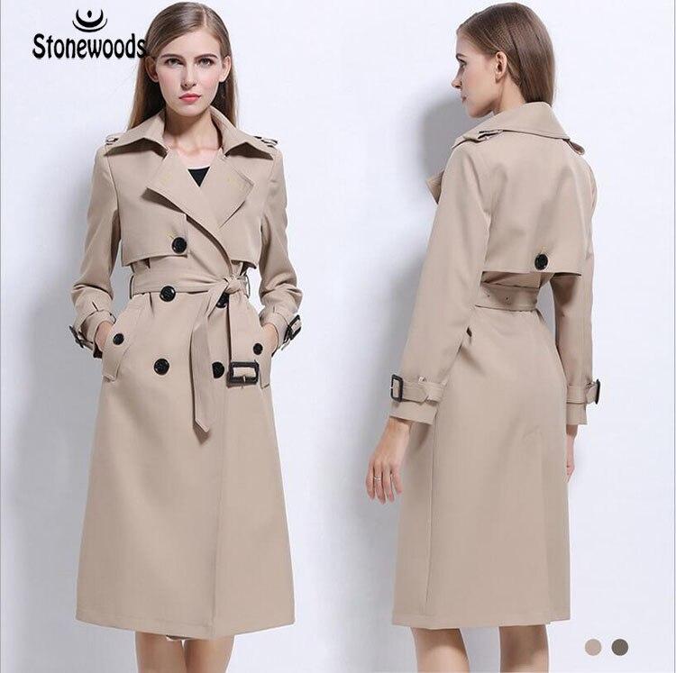 047f0b3d569 Trench Coat For Women British Style Double Breasted Coat Plus Size Long  Slim Peacoat Women Basic Coats Windbreaker Winter Coat -in Trench from  Women s ...