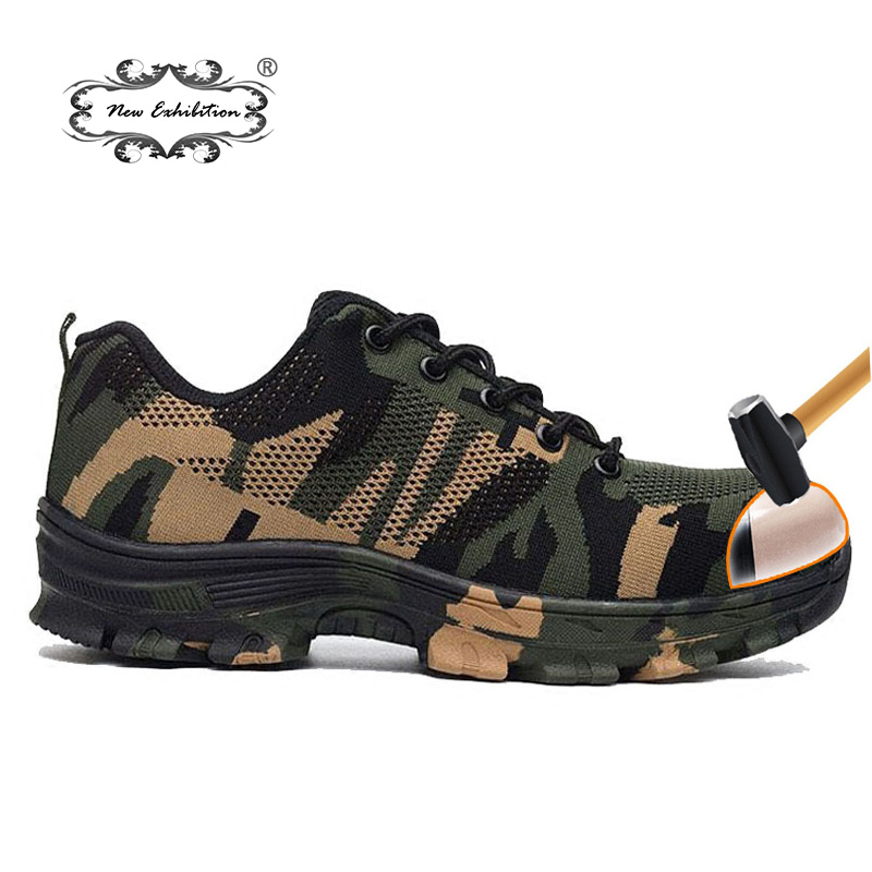 New Exhibition fashion Camouflage men safety shoes Outdoor Work Army Puncture breathable Military Steel Toe Cap Proof Boots35-46 new exhibition fashion safety shoes men outdoor steel toe cap anti puncture boots lightweight and breathable casual work shoes
