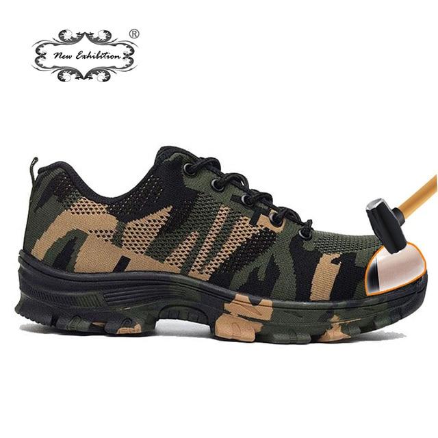 Yeni Sergi moda Kamuflaj erkekler güvenlik ayakkabıları Açık Iş Ordusu Delinme nefes Askeri çelik burun Geçirmez Boots35-46