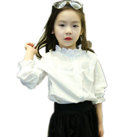 Girls Blouse And Shirts 2016 New Winter Toddler Girls Shirts Solid Ruffle Collar And Sleeve Girls